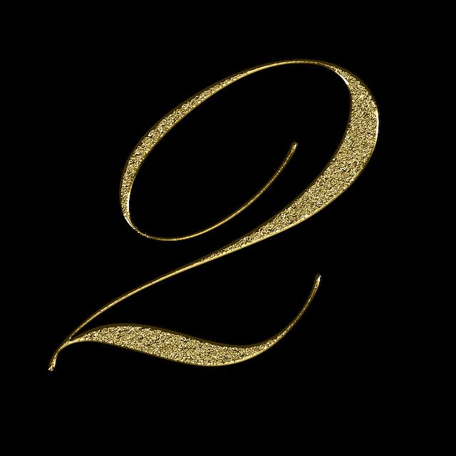zlaté zářící číslo 2